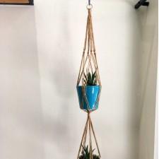 macrame plant hanger twins