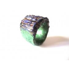 Papier mache Ring-Green Illusion