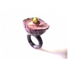 Papier mache Ring wild flower