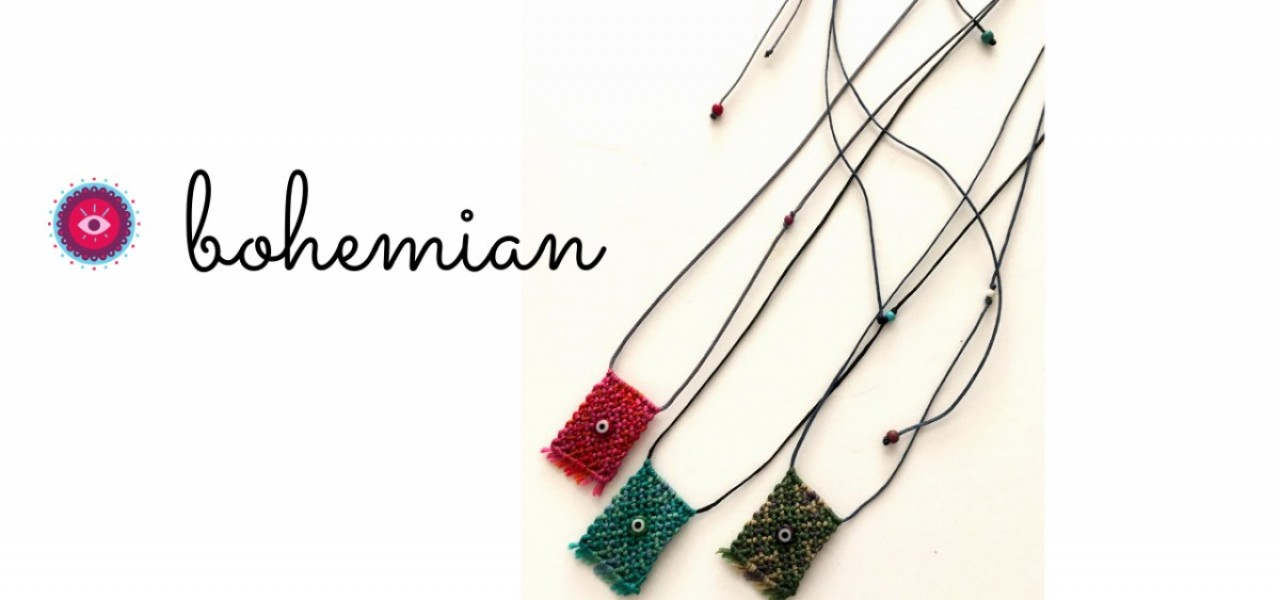 boho macrame necklace eye
